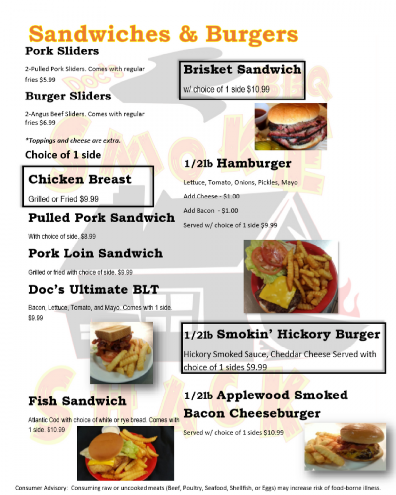 Menus From Doc's BBQ Smokeshack In Brandenburg, KY